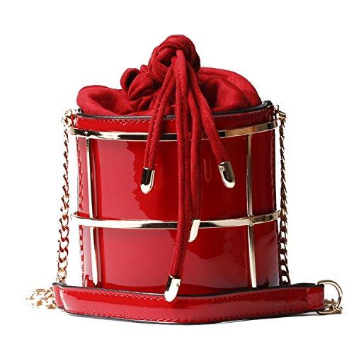 Handbag Republic Womens Vegan Patent Leather Mini Bucket Messenger Style Bag