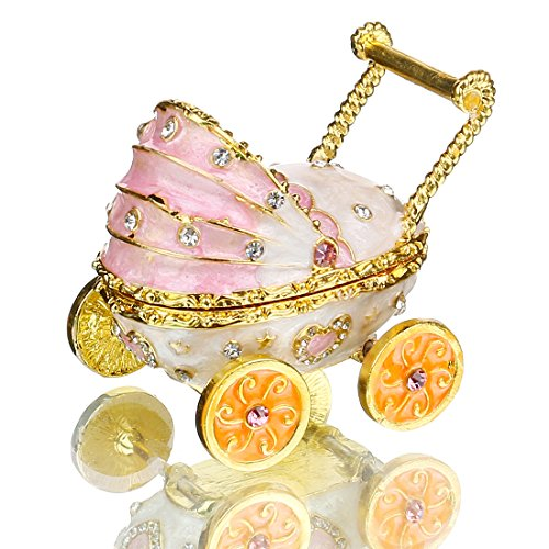 YU FENG Baby Pink Carriage Stroller Jewelry Trinket Box Bejeweled Keepsake Box Decor Crafts Handmade Enameled Decorative Gift