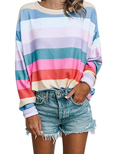 Allumk Women's Round Neck Colorful Stripe Print Long Sleeve Pullover Tops Sweatshirt Multicoloured ()