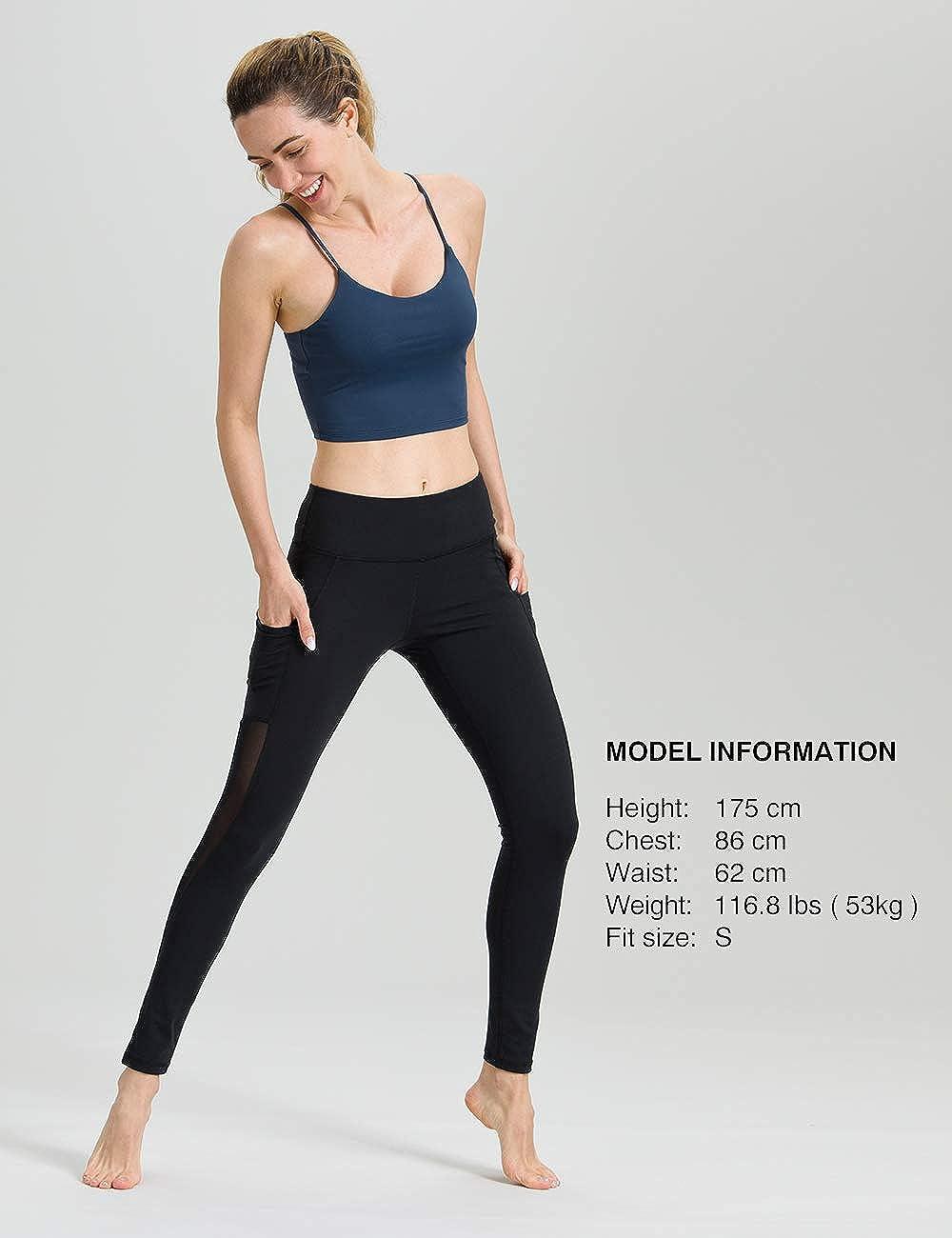 ALONG FIT Sport Leggings mit Taschen Damen Sporthose Yogahose Fitnesshose Yoga Leggings f/ür Damen
