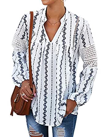 Ezcosplay Women V Neck Long Sleeve Boho Peasant Blouse Chiffon Floral Tunic Top - White - Small