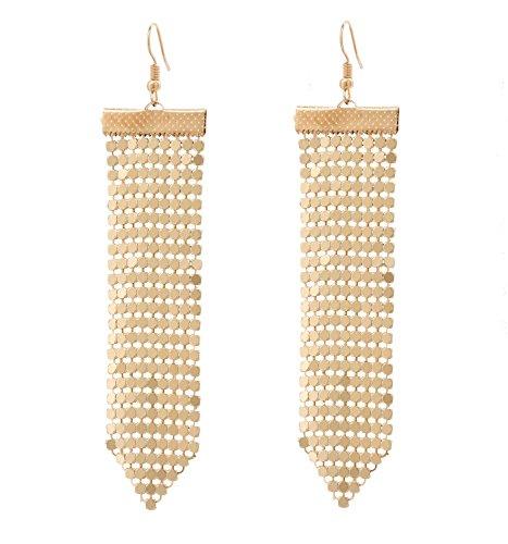 Mesh Long Drop Dangle Earrings Bohemian Copper Tassel Fringe Earrings Statement Sequin Earrings for Women Girls (Gold) - Gold Mesh Earrings