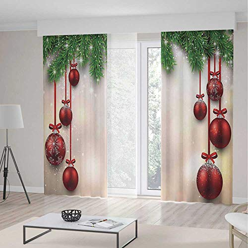 Christmas Decorations Room Decor Curtains,Xmas Winter Season Theme Fir Twigs and Vibrant Balls Graphic Print,Living Room Bedroom Curtain 2 Panels Set,104 W 84 L,Green Red