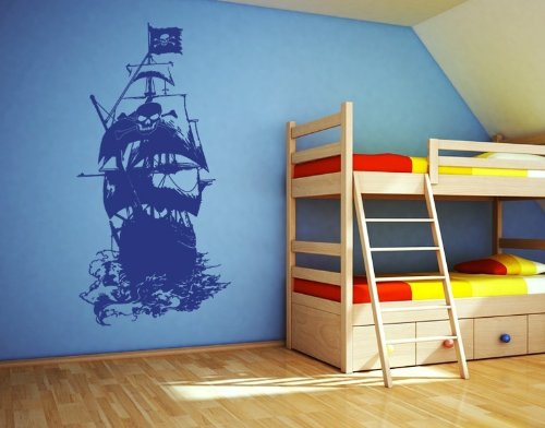 Style & Apply Henry Morgan Pirate Ship Wall Decal Wall Decal, Sticker, Mural Vinyl Art Home Decor - 3928 - Royal Blue, 16in x 29in