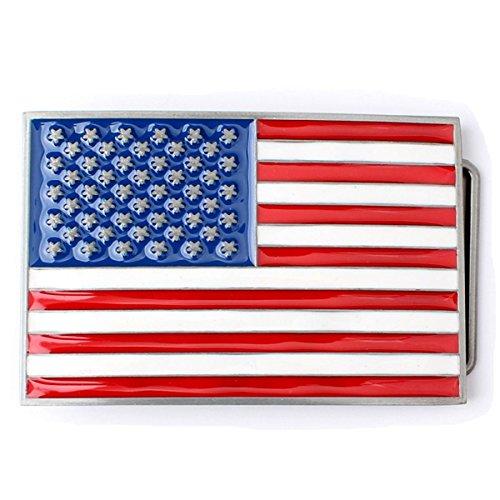 Man's Women's Belt Buckle in American Flag (BBFA-F-01) (Flag Belt Buckle)
