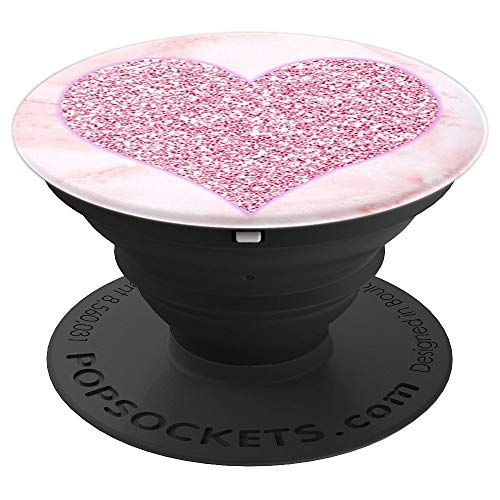 Rose Gold Bling Love Heart Pink Marble Pattern Pop Sockets - PopSockets Grip and Stand for Phones and Tablets