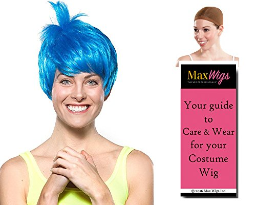 Joy Inside Out Color Blue - Enigma Wigs Women's Joyous Emotion Happy Bundle With Wig Cap, MaxWigs Costume Wig Care (Front Carnival Pirate Costume)