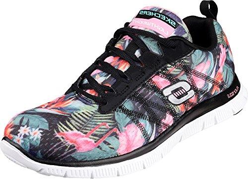 Trainer Floral Sole Flex Multi Laceup Women Running Black Appeal Bloom Shoes ONLYuniform Rubber Skechers z6FgAByP