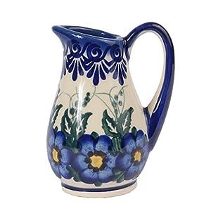 Traditional Polish Pottery, Handcrafted Ceramic Creamer 100ml, Boleslawiec Style Pattern, J.301.Pansy