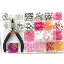 Jewelry Making Kit- Everything included it this beginners jewelry kit. Girls and teens will love exploring their creativity! Directions and sample pictures included with this pink bead kit.