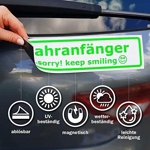 Kiwistar Fahranfänger Sorry Keep Smiling Magnetschild Schild Magnetisch Auto