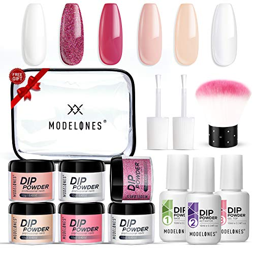 Dip Powder Kit for Starter with 6 ColorDipping Nail Starter Kit Dip System Acrylic Dip Nail Kit for