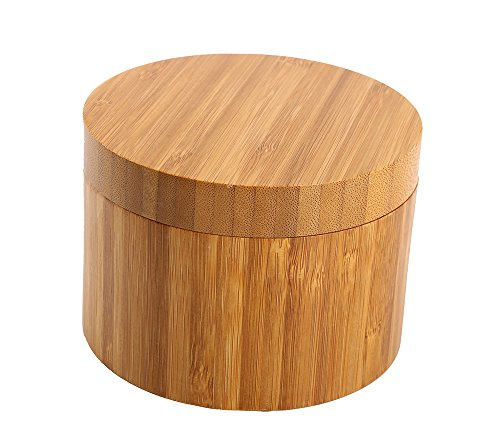 Bamboo Salt Box With Magnetic Swivel Lid, 8.5oz Round Spice Container, Secure Durable Storage & Organization for Seasonings, Herbs or Small Items By HTB