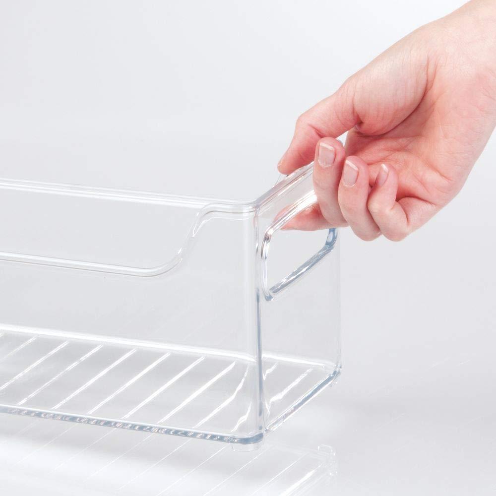 Contenitori per frigorifero impilabili Organizer frigo perfetti per la conservazione di alimenti trasparente mDesign Set da 4 portaoggetti cucina