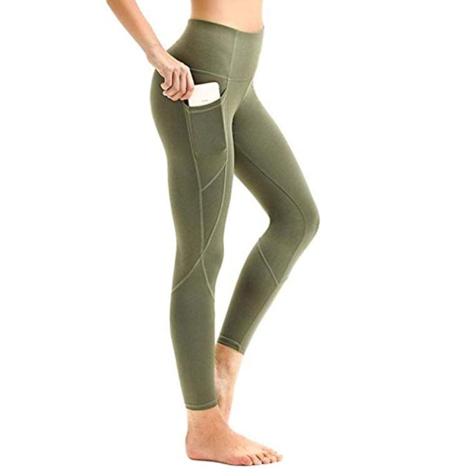 Ouyilu High Compression Yoga Pants Out Pocket Running Pants High Waist Fitness Leggings Active Tracksuits