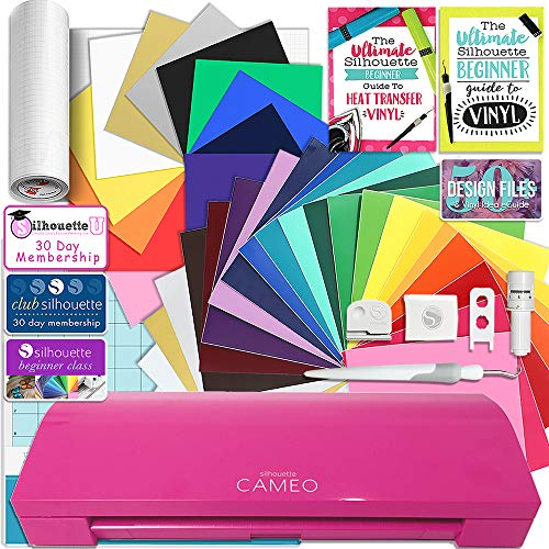 Silhouette Glitter Pink Cameo 3 Creative Bundle with Bluetooth, 24 Oracal 651 Sheets and 12 Siser Easyweed Heat Transfer - Pack Glitter 3