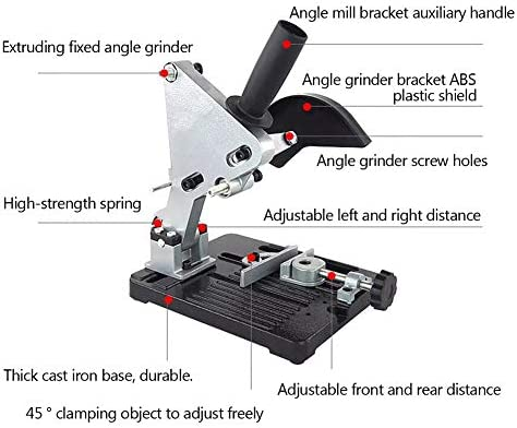Angle Grinder Stand, Electric Drill Cutting 45°Adjustable Angle Grinder Rack Aluminum Body for 100/115/125mm Angle, 3.2kg/7lb
