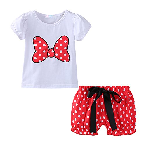 Mud Kingdom Toddler Girls Clothes Holiday Cute Short Sets Bow 24M Red]()