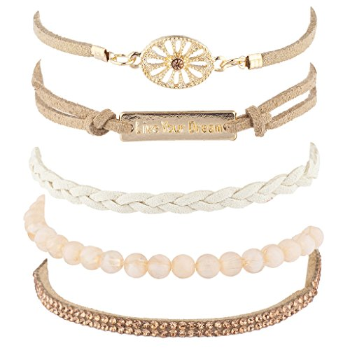 Lux Accessories Tan Live Your Dream Boho Beaded Sticker Stone Arm Candy Set 5PC ()