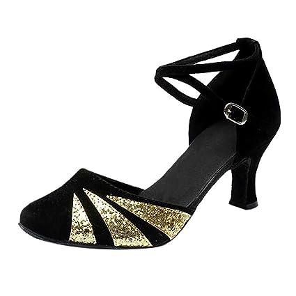 2007aa30a Amazon.com  Women Dance Shoes Glitter Girls Round Toe Latin Salsa ...