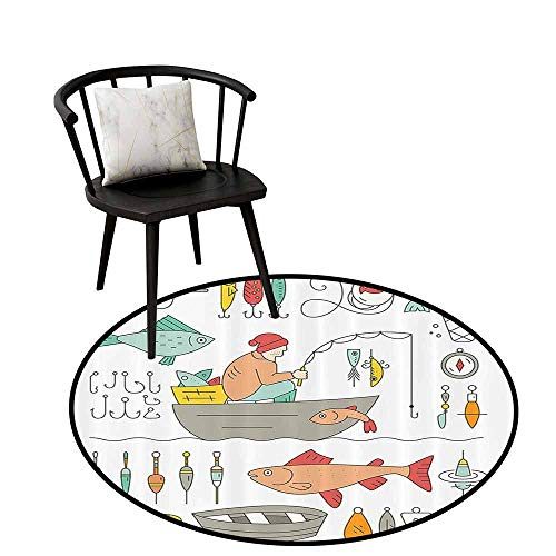 - Printed Round Rug Nautical Decor Collection Easy to Care Fishing Gear Fisherman in The Boat Catching Fish Rod Bobber Tackle Hook Clip Work Image Light Salmon D35(90cm)