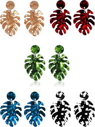 5 Pairs Leaf Acrylic Earrings Bohemian Resin Earrings Drop Dangle Statement Earrings Palm Leaf Shape Women Jewelry, 5 Colors
