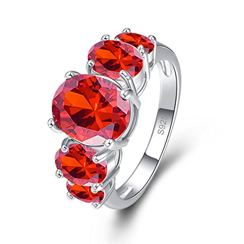 Psiroy 925 Sterling Silver Created Garnet Filled 5 Stone Engagement Ring Band Size 6 -