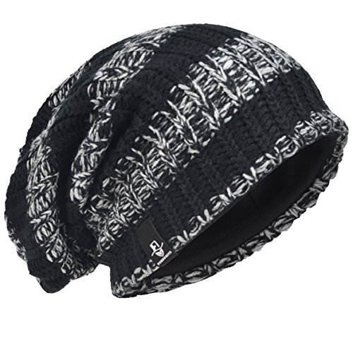 VECRY Men's Cool Cotton Beanie Slouch Skull Cap Long Baggy Hip-hop Winter Summer Hat (Stripe-Black) ()