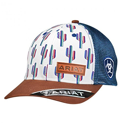 (ARIAT Women's Serape Cactus Mesh Snap Cap, White/Blue, One Size)