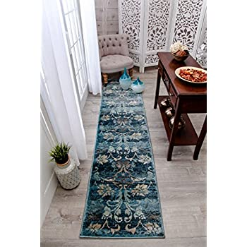 silk persian runner handknotted rug oriental handmade yilong item runners rugs blue