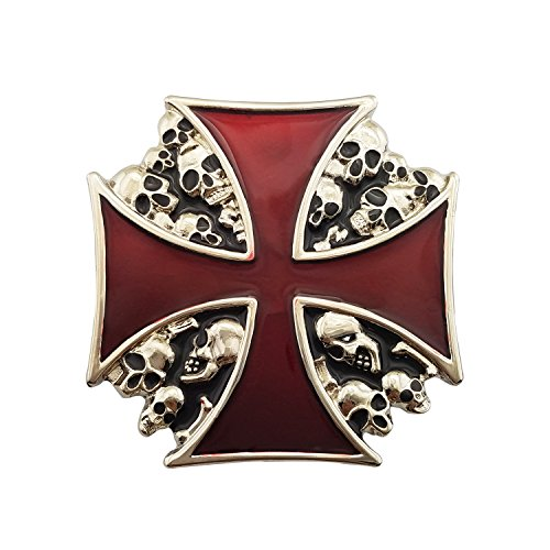 Lanxy Cool Native American Big Red Enamel Cross Skull Skeleton Punk Gothic Belt Buckle For Men