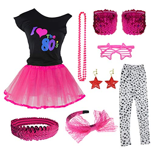 I Love The 80s T-Shirt Tutu Skirt for 1980s Theme Party Costume Set (8-10, Hot Pink) ()