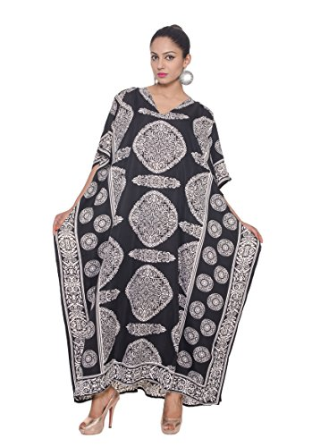 Goood Times Caftan Dress Long Maxi Paisley Print Gown Beach Cover Up,Black,One ()