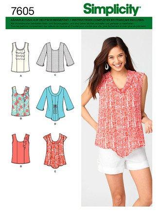Simplicity 7605 K5 patrón de costura para mujer blusas, túnicas, Chemise en 6 modelos
