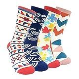 Colorful Mens Dress Socks Argyle-HSELL Men Multicolored Pattern Fashionable Fun Crew Funky Socks 4 Pack ,C1,Unisex 5-11