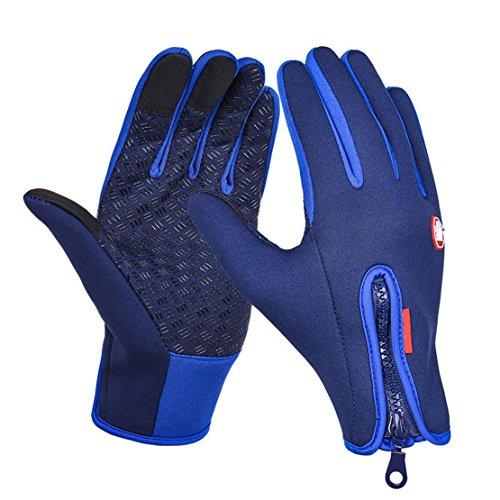 Gants anti-éblouillants à écran tactile vélo gantant tous les gants des doigts gants chauffants à ski en fuite , Dark blue , XL