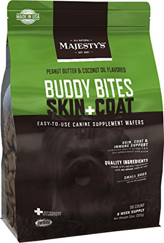 Majesty's Buddy Bites Skin & Coat supplement for Small Dogs - 56 count (Majestys Buddy Bites)