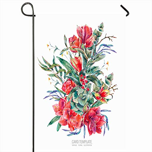 Ahawoso Outdoor Garden Flag 12x18 Inches Leaf Leaves Orange Amaryllis Watercolor Floral Red Graphic Flowers Vintage Abstract Pink Aquarelle Seasonal Double Sides Home Decorative House Yard Sign