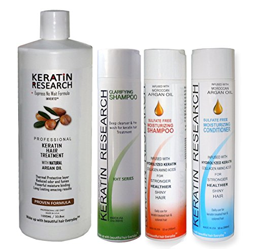 Brazilian Keratin Blowout Straightening Smoothing Hair Treatment 4 Bottles 1000ml Kit Includes Sulfate Free Shampoo Conditioner set by Keratin Research by Keratin Research (Image #6)