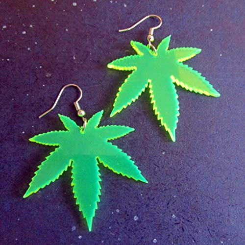 Big Neon Green Pot Leaf Dangle Earrings, 420 Weed Marijuana Jewelry (Weed Leaf Neon)