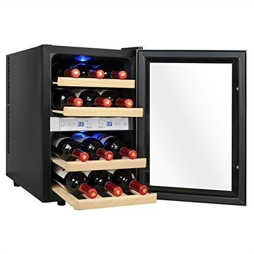 AKDY 12 Bottles Dual Zone Reversible Doors Stainless Steel Finish Wooden Shelves Freestanding Electric Wine Cooler Cellar