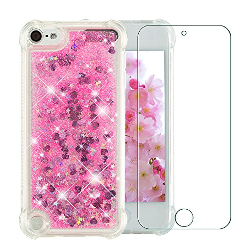 iPod 5 Case, iPod 6 Case, NOKEA Luxury Fashion Bling Flowing Liquid Floating Sparkle Glitter Girly TPU Case with Free Tempered Glass Screen Protector for Apple iPod Touch 5 6th Generation (Hot Pink) (Print Cases 4 Zebra Ipod)