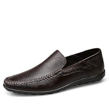 Qzny Zapatos de Cuero para Hombres 2018 Nuevo Verano Mocasines Respirables Slip-Ons Zapatos de