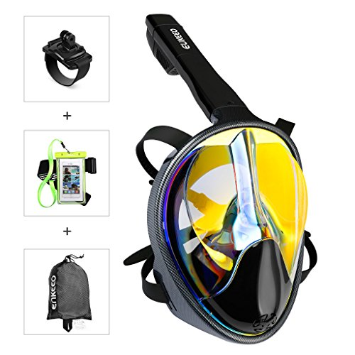 4 Lens Panoramic Purge Mask (Enkeeo Full Face Snorkel Mask - UV 400 Protection - 180° Panoramic View Watertight and Anti-Fog (Including Waterproof Phone Case and Compatible Band for GoPro) Yellow S/M)
