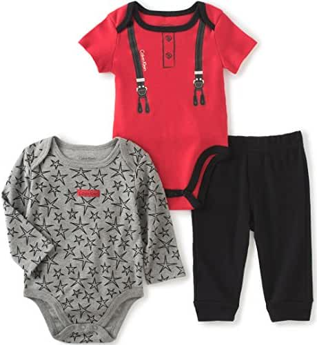 Calvin Klein Baby Boys' Solid and Print Bodysuit with Pants Set
