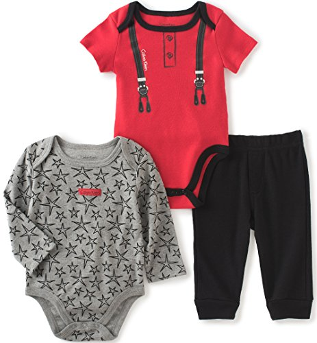 Calvin Klein Baby Solid and Print Bodysuit with Pants Set, Red/Grey, 6/9 Months