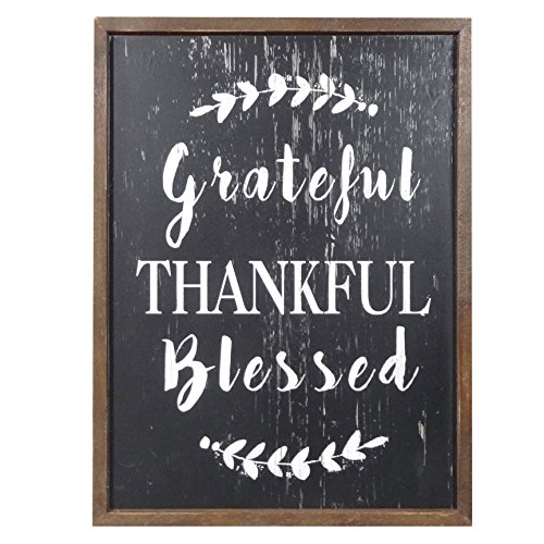 NIKKY HOME Rustic Inspirational Wooden Wall Plaque Sign12 x 16 inch, Grateful Thankful Blessed