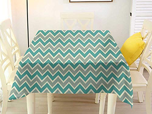 L'sWOW Square Tablecloth Liner Chevron Zigzag Stripes Pattern Angular Design Retro Design Inspirations Pale Sage Green Teal and Beige Pattern 70 x 70 Inch