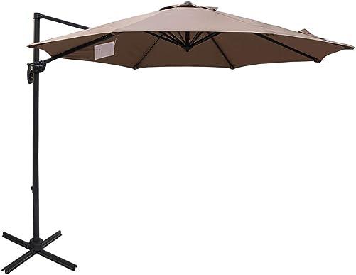 Sundale Outdoor 10ft Sunbrella Fabric Offset Hanging Umbrella Market Patio Umbrella Aluminum Cantilever Pole with Crank Lift, Corss Frame, 360 Rotation, for Garden, Deck, Backyard Camel