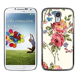 FECELL CITY // Duro Aluminio Pegatina PC Caso decorativo Funda Carcasa de Protección para Samsung Galaxy S4 I9500 // Rose Blossoms Pink Garden Art Flowers